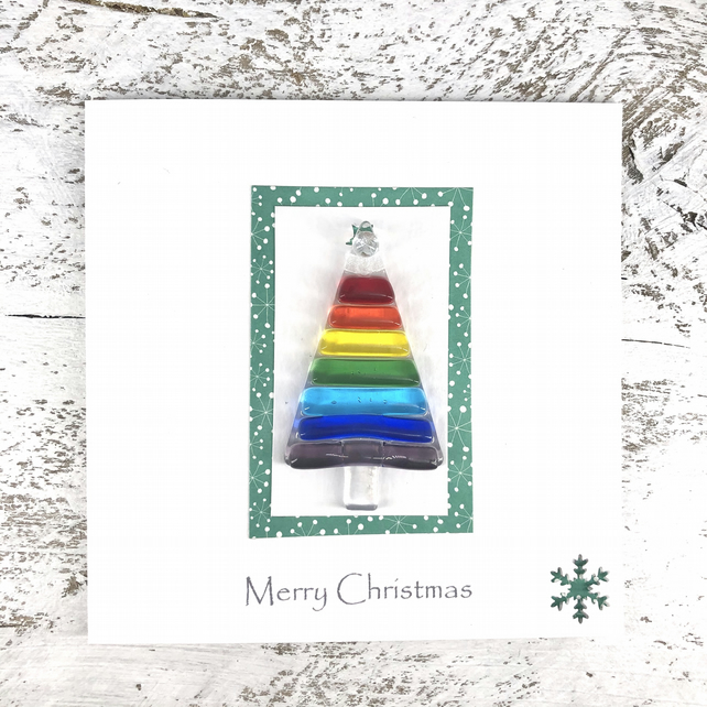 Christmas Card with Detachable Glass Tree Decoration