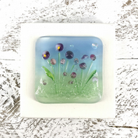 Glass Flower Meadow Picture with Pretty Pink & Purple  Flowers