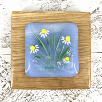 Daisy Fused Glass Picture set in Handcrafted Oak
