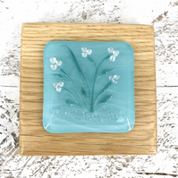 Turquoise Flower Fused Glass Picture set in Handcrafted Oak