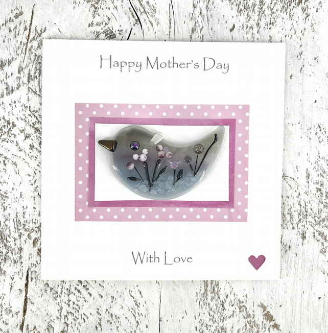 Mother's Day Card with Detachable Glass Meadow Bird