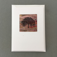 Greeting card, print on hand made silk paper, willow tree silhouette
