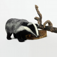 Badger, needle felted ornament, british wildlife