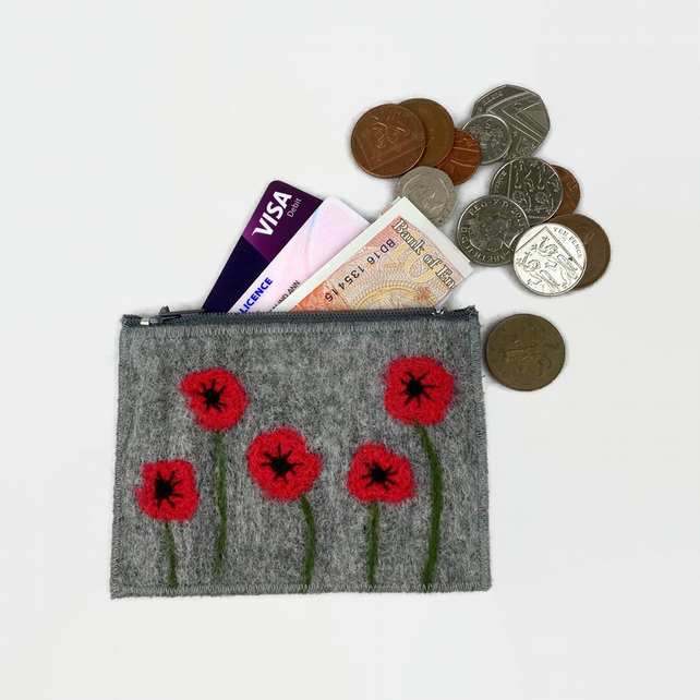 Felted poppy purse