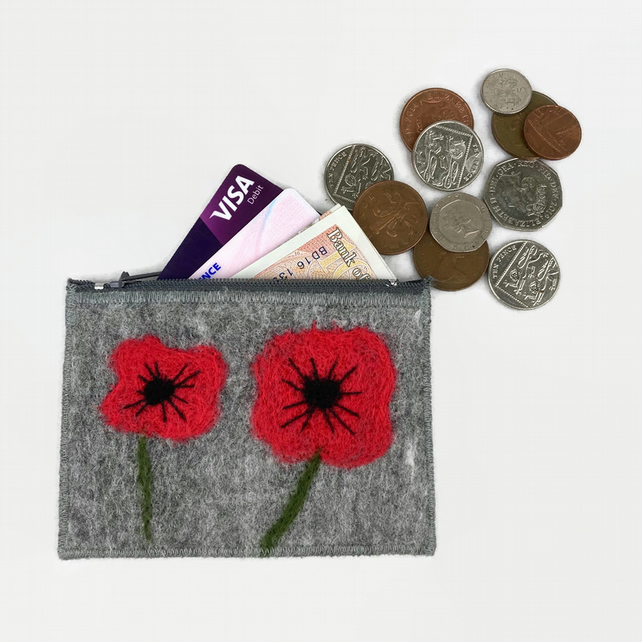 Felt coin purse with needle felted poppy design