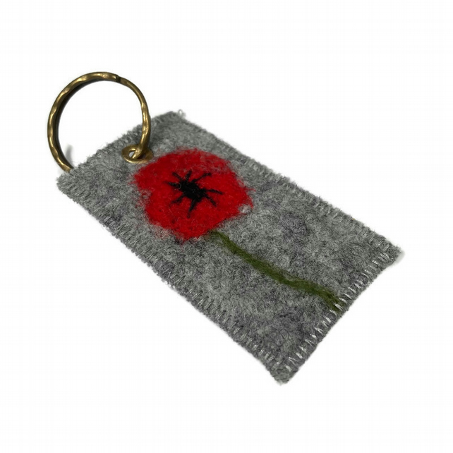Felted Poppy Keyring