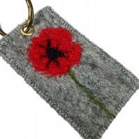 Keyring, felt with poppy design