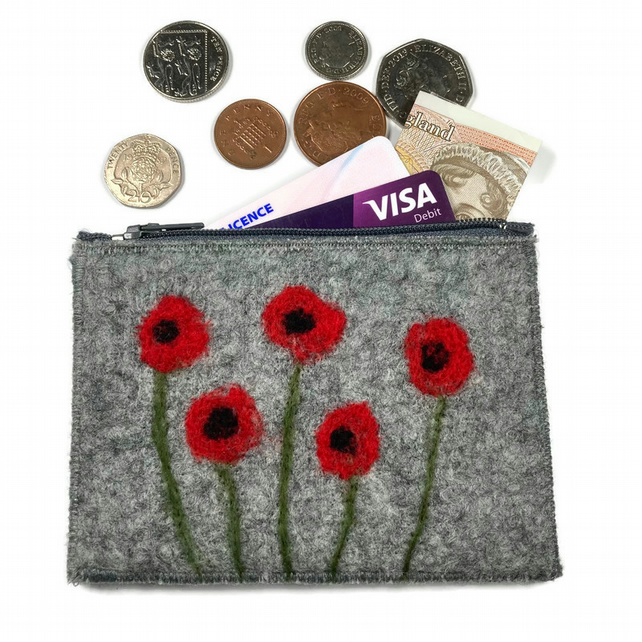 Felted purse with 5 poppies
