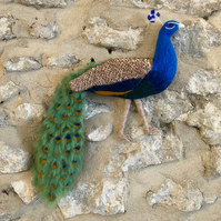 Needle felted peacock wall hanging