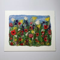 "Wet felted and embroidered wild flower meadow picture 10"" x 8"""