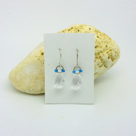 Small crystal bead earrings with sterling silver hooks