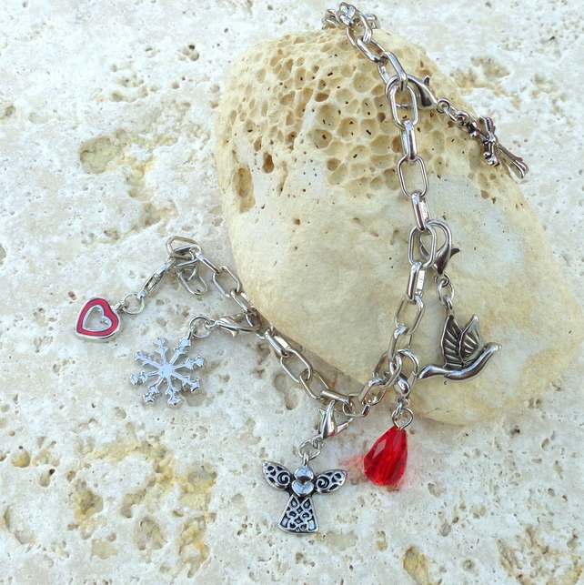 Christmas charm bracelet, silver plated chain with seven dangle charms