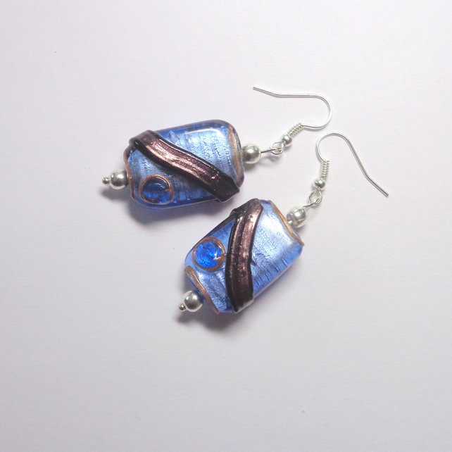 Shimmering cornflower-blue and copper-brown glass bead drop earrings