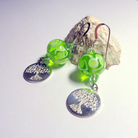 Lampwork apple green glass bead and sterling silver tree of life earrings