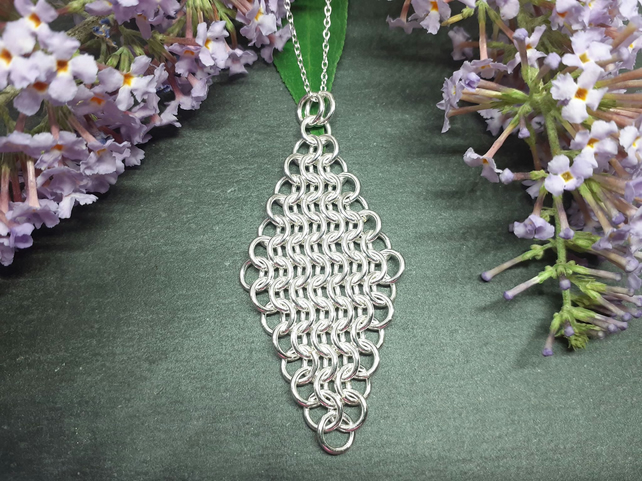 Diamond Shaped Sterling Silver Chainmaille Pendant, Silver Chainmaille Necklace
