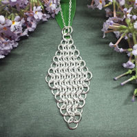 Diamond Shaped Sterling Silver Chainmaille Pendant