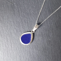 Silver Teardop Necklace, Blue Resin Pendant