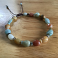 Natural Amazonite mixed colour polished pebble adjustable bracelet