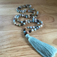 Andean Opal and Bronzite hand knotted long tassel necklace (108 beads)