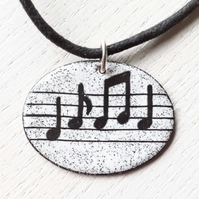 Oval Musical Notes Pendant
