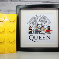 QUEEN - Framed Lego minifigure - Awesome band artwork
