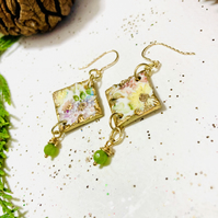 Beautiful porcelain botanical earrings with emeralds
