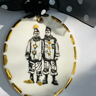 Porcelain, Clowns Art brooch