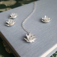 Flower Pendant, Lotus Necklace