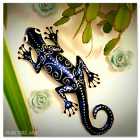 Tin Gecko, metal wall art (Blue) Made from a Coffee Tin.