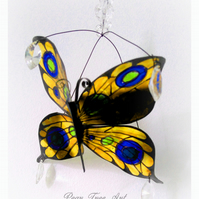 Yellow Metal Butterfly hanging decoration. Made from a Coffee Tin.