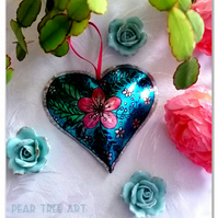 Metal Heart Turquoise with a Pink flower. Hanging Decoration.