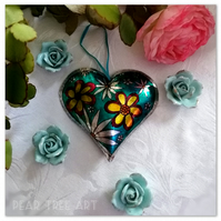 Turquoise Metal Heart decoration with flowers. Handmade. Made from a Coffee tin.