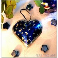 Metal Heart hanging decoration. Blue with stars and Moons pattern.Handmade.