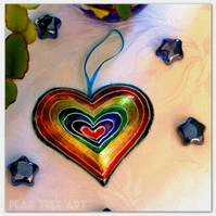 Rainbow Embossed Metal Heart decoration. Handmade. Made from a Coffee tin
