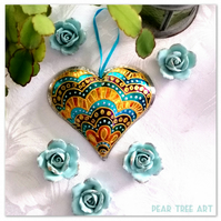 Tin Embossed Heart decoration. Turquoise, Orange and purple pattern. Handmade