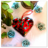 Red Metal Embossed Heart decoration with flower pattern. Hand Made.