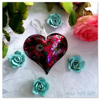 Dark Pink Embossed Metal Heart decoration with flower pattern. Hand made.