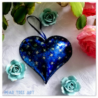 Blue Embossed Metal Heart decoration with star pattern. Hand Made.