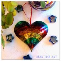 Rainbow tin heart embossed decoration. Handmade.