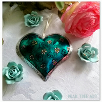 Tin Heart decoration. Turquoise with flowers. Handmade.
