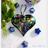 Metal Embossed Heart decoration. Hand made.