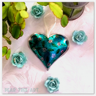 Metal Heart decoration. Turquoise with flowers. Handmade.