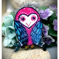Owl Brooch, Handmade, Pink and Blue