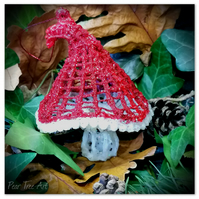 Red Toadstool Christmas Decoration