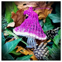 Pink Toadstool Christmas Decoration