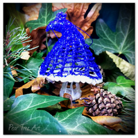 Blue Toadstool Christmas Decoration