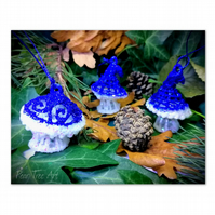 Blue Toadstool Christmas decorations set of 3