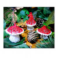 Red Toadstool Christmas decorations set of 3