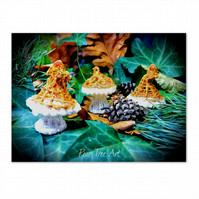Gold Toadstool Christmas decorations set of 3