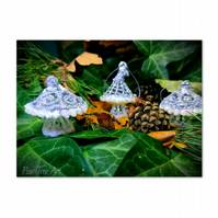 Silver Toadstool Christmas decorations set of 3